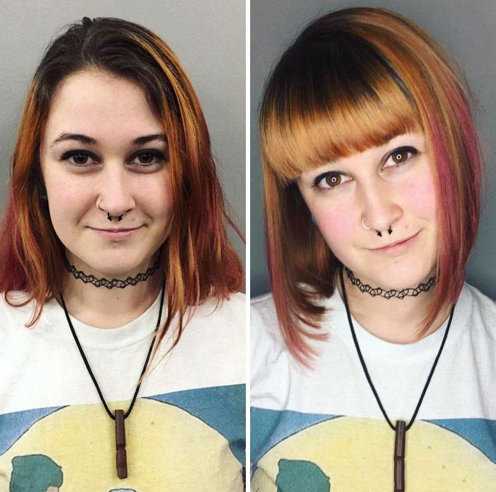 Cambio de look corte extremo fleco