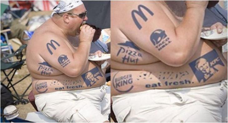 hombre gordo con tatuajes de comida rápida