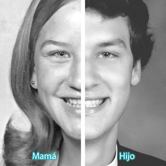 replica exacta de su madre