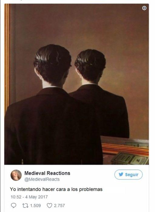 Pintura de hombre frente al espejo y solo puede ver su nuca