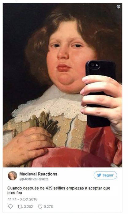Pintura de un niño gordo sobrepuesto un celular para simular selfie
