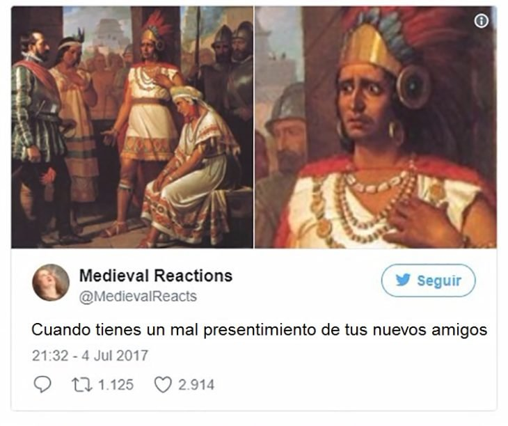 Dibujo con la cara preocupada de Moctezuma