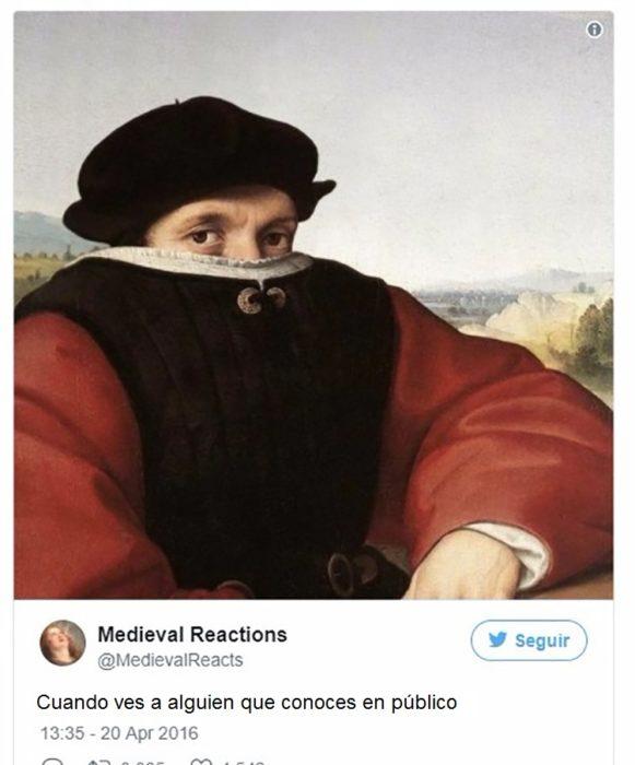 Pintura de hombre con media cara cubierta por la ropa