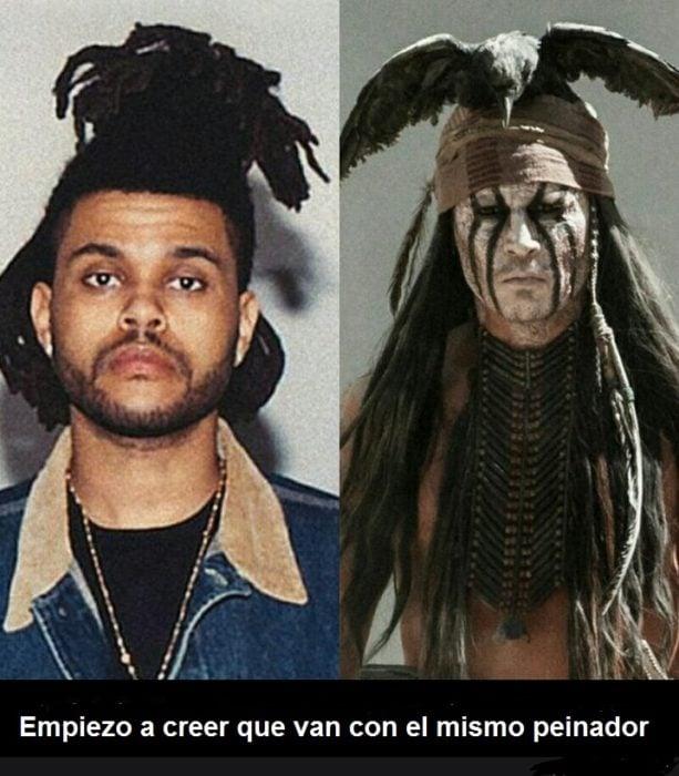 Peinado de Weeknd comparado con kimosabi
