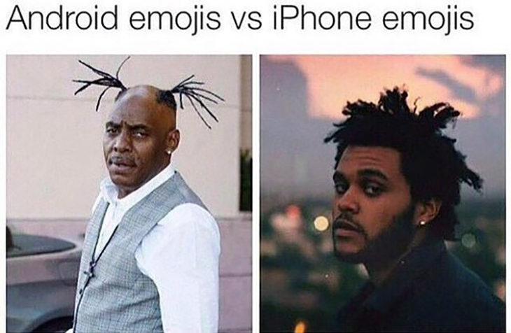 Emojis de Android Vs Emojis de iPhone usando a Weeknd como modelo