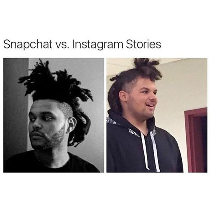 comparativa de las historias de Instagram vs Snapchat usan a weeknd como modelo