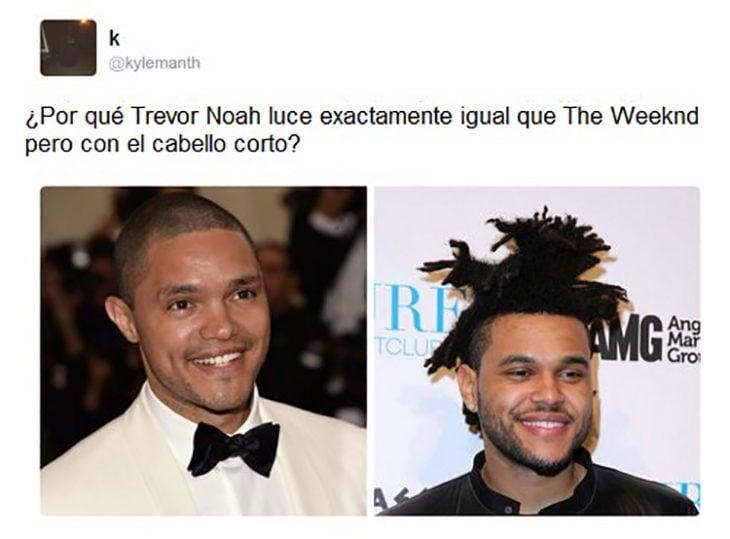 Trevr Noah y Weeknd son iguales pero con diferente peinado
