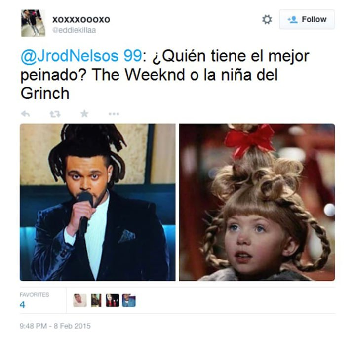 the weeknd comparado con la niña que sale en el Grinch