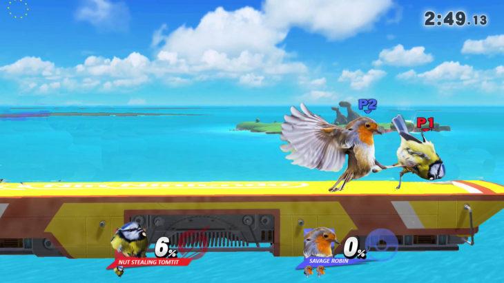 batalla video juego pájaro