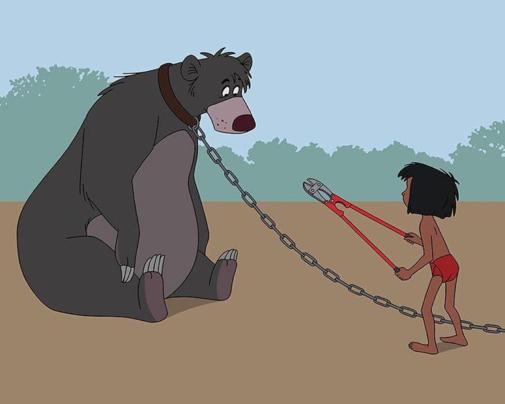 oso baloo mowgli 2017 selva