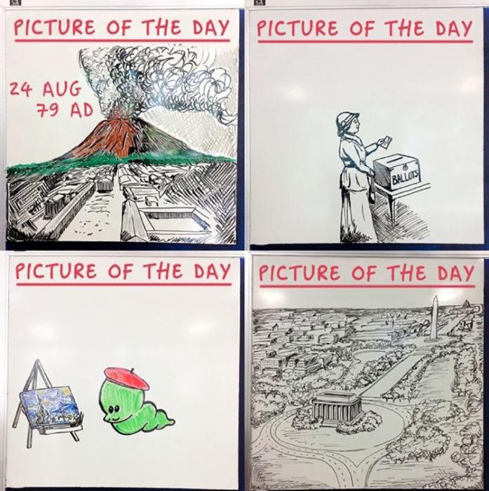 Dibujos diarios que deja en la pizarra un profesor