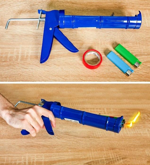 pistola gas encendedor manos truco