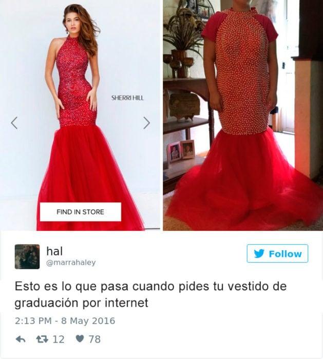 Expectativa vs Realidad - vestido rojo