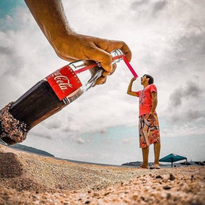 Fotografía perspectiva coca cola