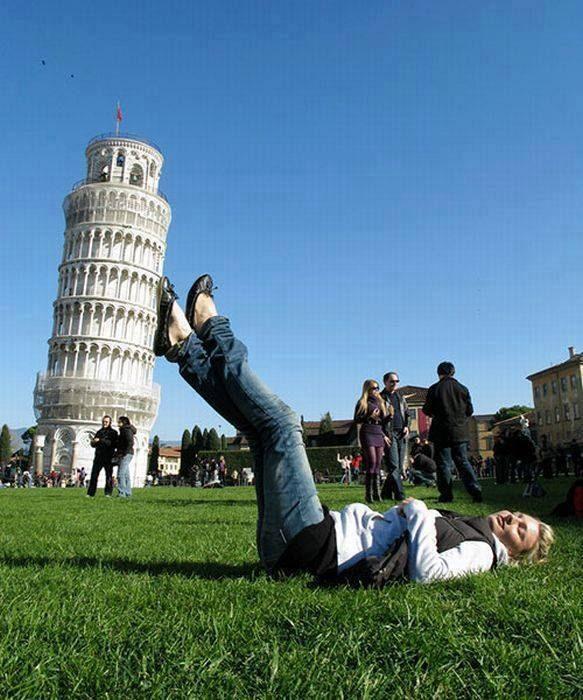 Fotografía perspectiva torre de Pisa