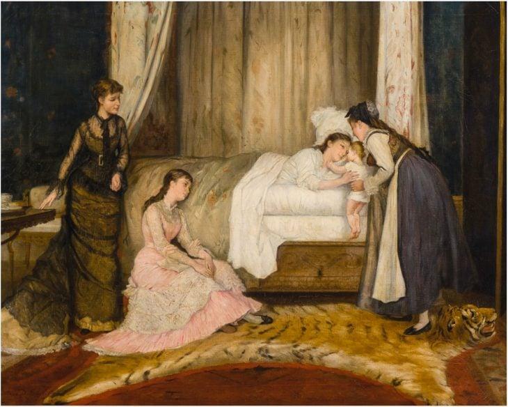Pintura medieval mujeres con bebé