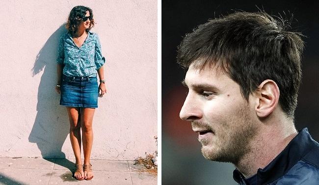 Mujer foto cuerpo completo, sombra Messi