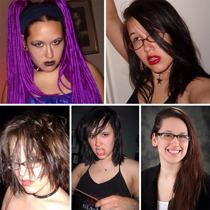 Antes y después chica emo gótica ahora chica normal