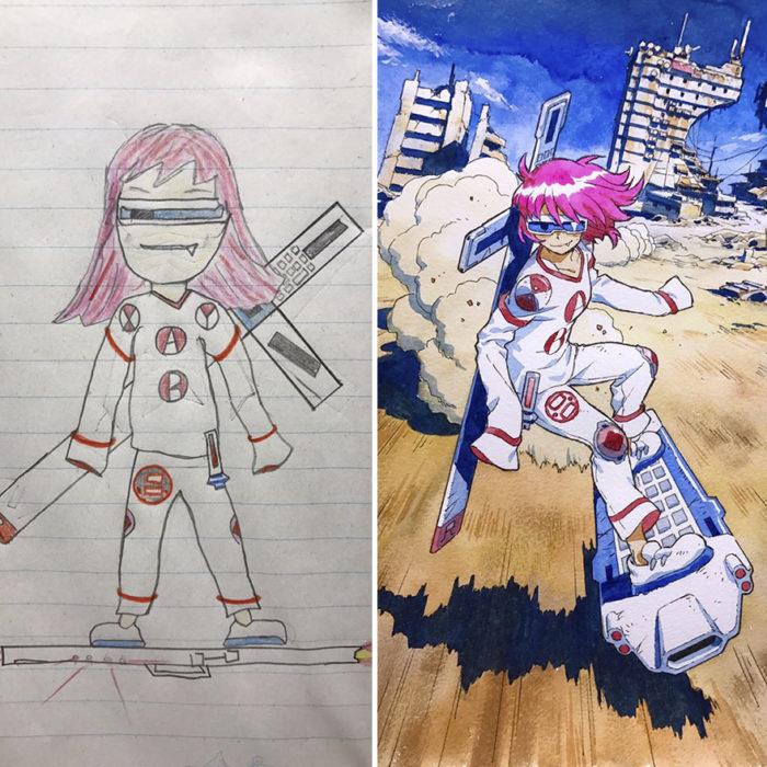 Planeador cabello rosa