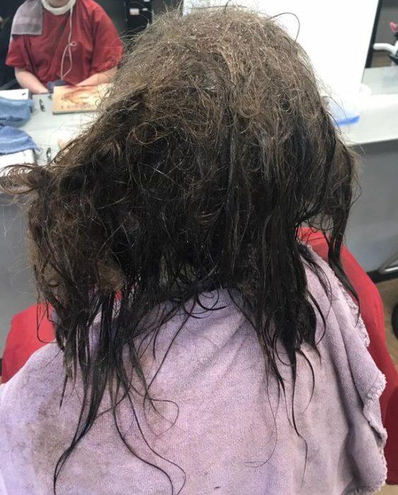 niña cabello desastre