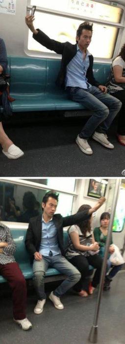 Selfie del peinado en el metro