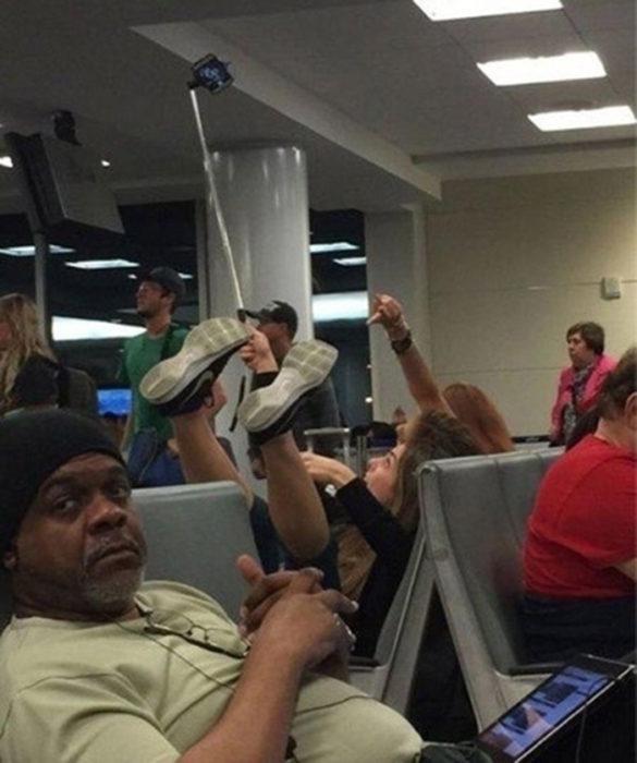 Selfie en el aeropuerto