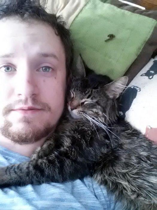 Gato abrazado de hombre