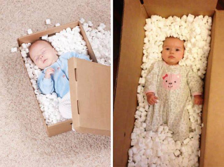 Foto bebé en caja fail