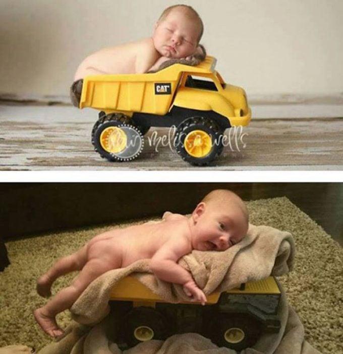 Foto bebé en tractor fail