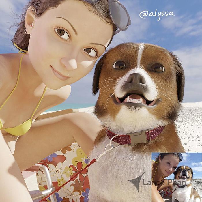 mujer en la playa con su perro convertida en personaje de Pixar
