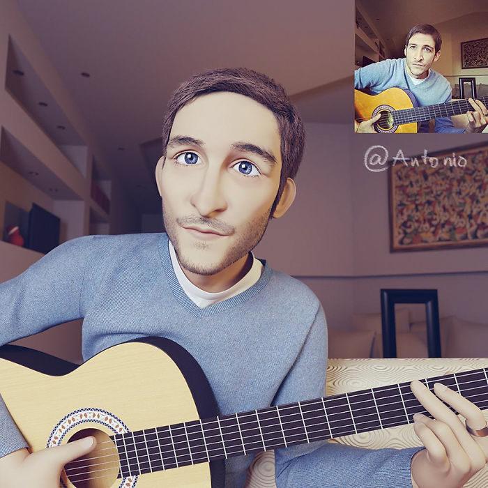 hombre tocando la guitarra convertido en personaje de Pixar