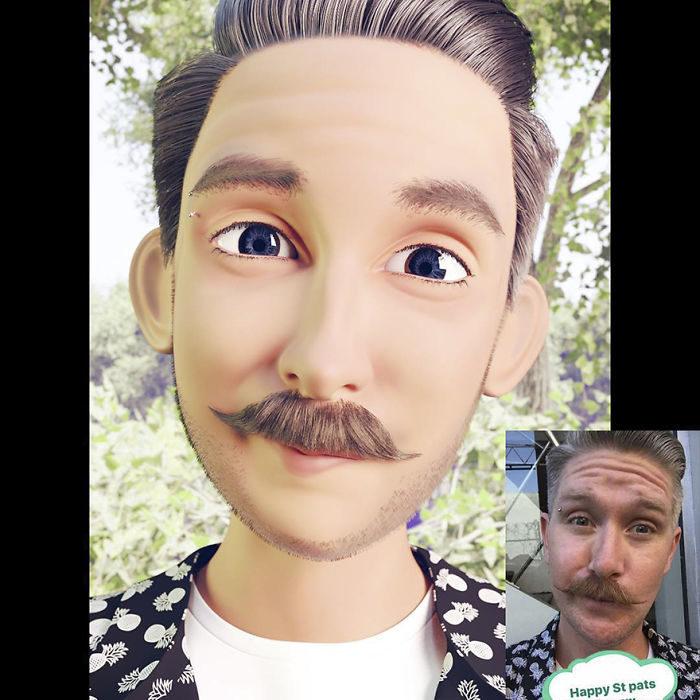 hombre con bigote convertido en personaje de Pixar