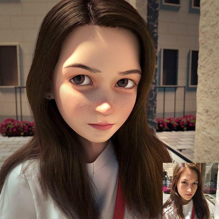 Chica con cabello oscuro convertida en personaje de Pixar