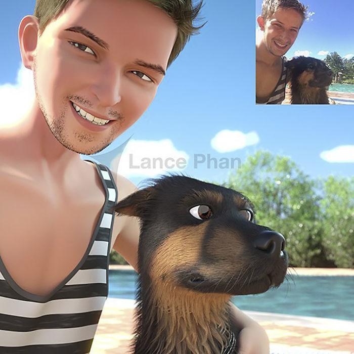 hombre con su perro en la playa convertidos en personajes de Pixar