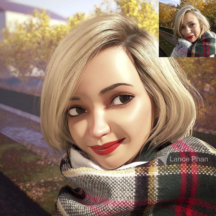 mujer con bufanda convertida en personaje de Pixar