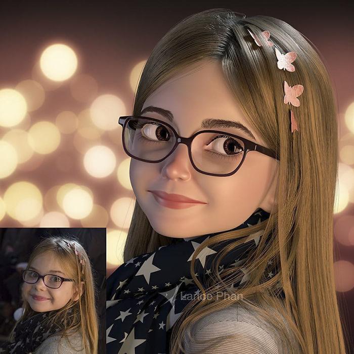 niña con lentes convertida en personaje de Pixar