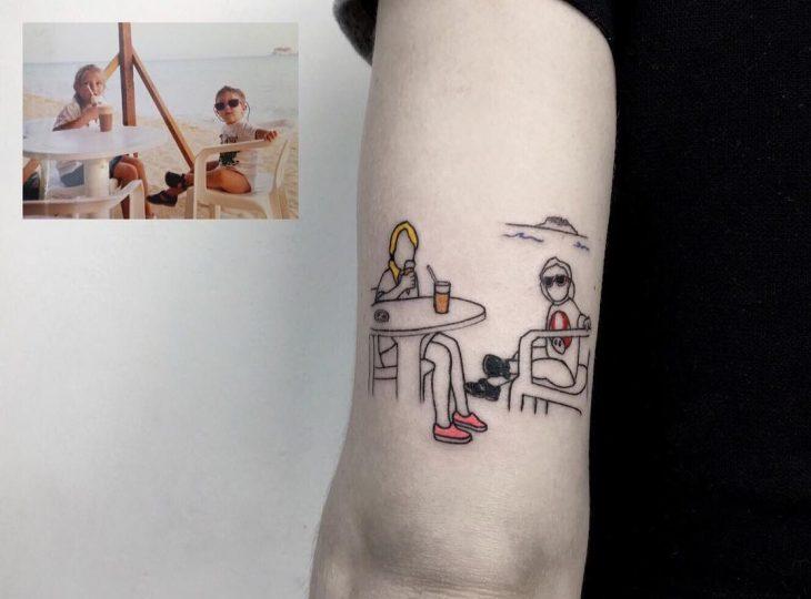 Tatuaje foto infancia - en la playa
