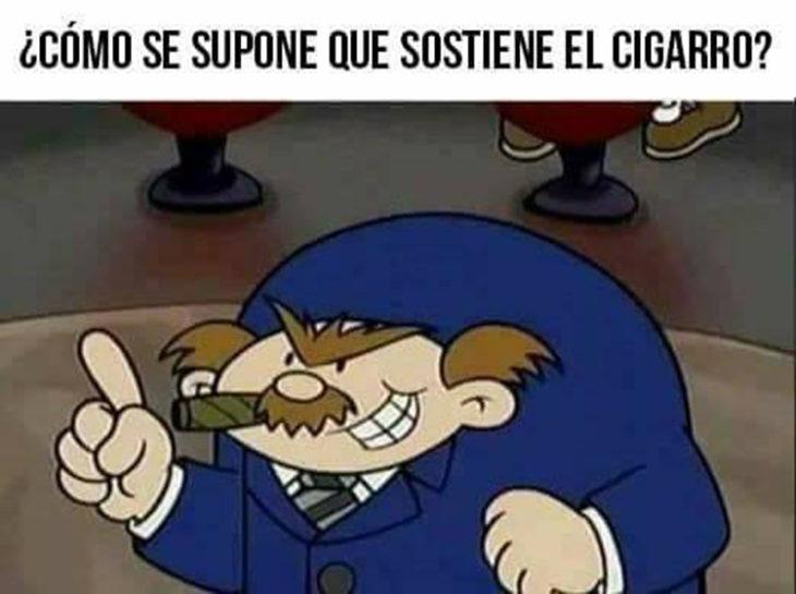 detiene el cigarro en el aire