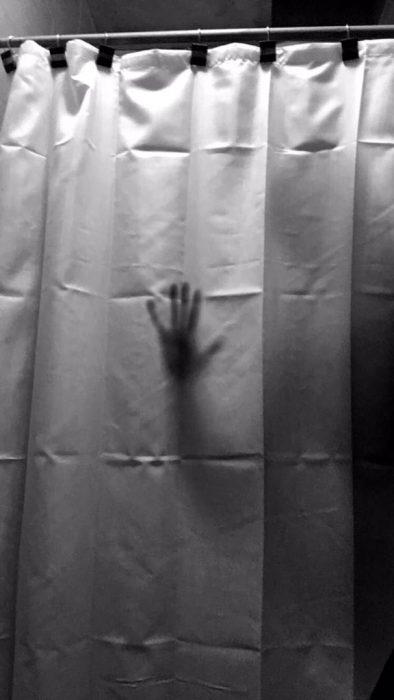 aterradora cortina de baño