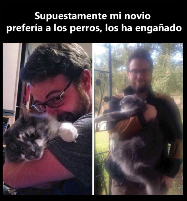Hombre con gato foto