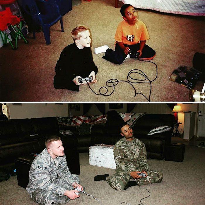 amigos jugando videojuegos antes y ahora