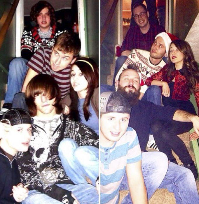 Amigos en escalera antes y después