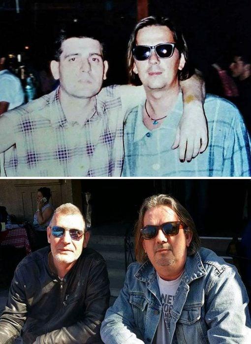 amigos con lentes antes y ahora