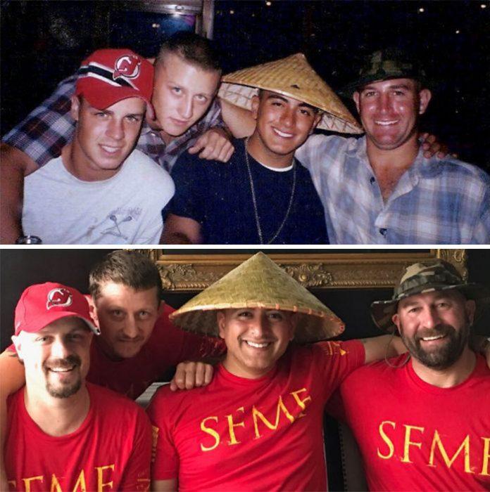 amigos con sombrero extraño