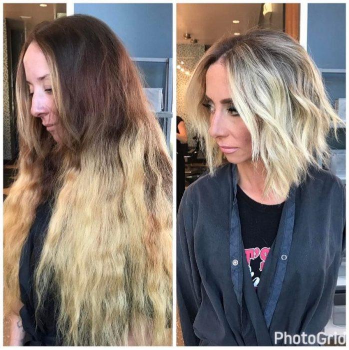 comparativo antes y después corte de cabello