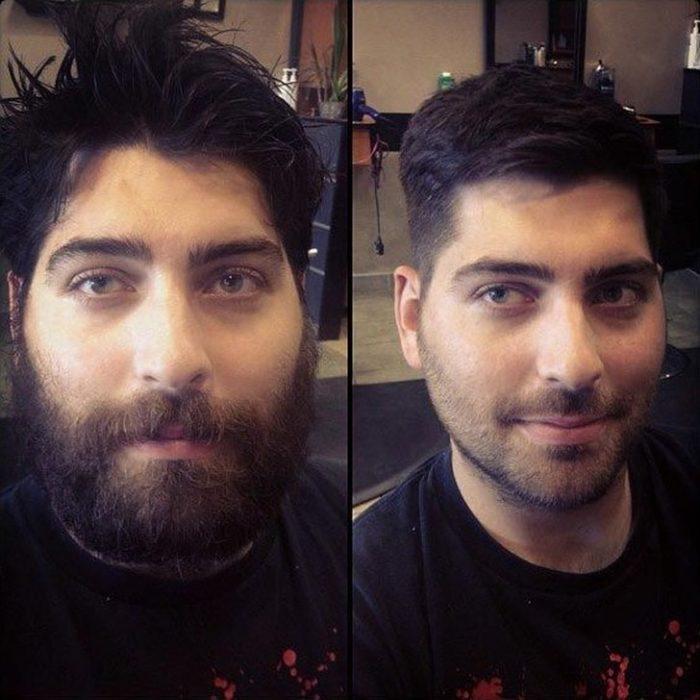 hombre que se cortó el pelo