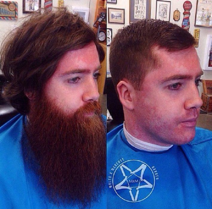 hombre que se quitó la barba