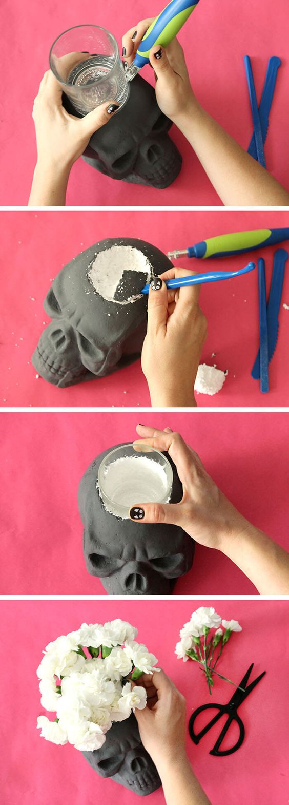 cráneo vela Halloween ideas DIY