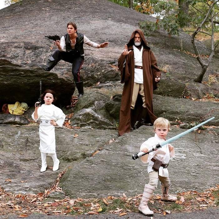 Neil y familia disfrazados de star wars