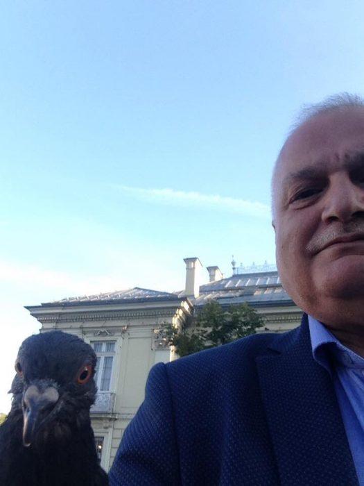 papá selfie con paloma